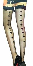 New Ladies Bow Hold Up Love Heart Fishnet Stockings Tights One Size