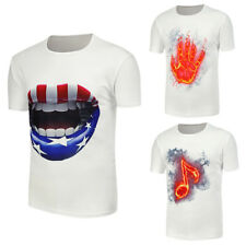 Summer Men's Graphic Casual Short Sleeve T-Shirts Cotton Slim Fit Tee Tops