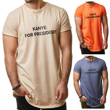 Sixth June M2523 Herren T-Shirt Long Oversized Kanye For President Orange S-XL