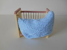 HAND KNIT MINIATURE DOLLHOUSE DOLL BABY BLANKET BLUE