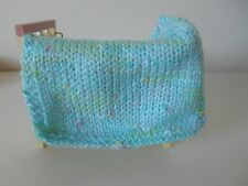 HAND KNIT MINIATURE DOLLHOUSE DOLL  BABY BLANKET AQUA BLUE