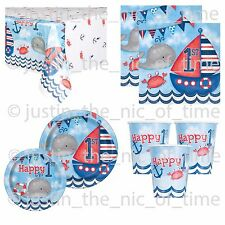 1st First Birthday Boys Blue Nautical Party Supplies Tableware