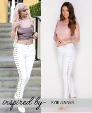 NEW TRENDY WOMEN WHITE LACE UP DETAIL SKINNY JEANS TROUSERS SIZE (6-8-10-12-14)