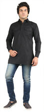 Royal Black Cotton Short Pathani Kurta For Denim's (ROYAL-122-SHORT-KURTA-BLACK)