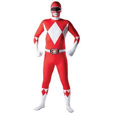 Adult Red Power Ranger Mighty Morphin 2nd Skin Bodysuit Mens Fancy Dress Costume