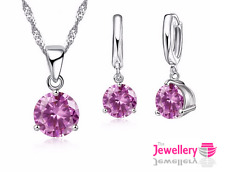 925 Sterling Silver Round Pink Crystal Pendant Necklace 3 Claw Earring Set