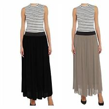 Maxi Summer Skirt Full Lining Pleated Skirt Flared A-Line High/Low Waist