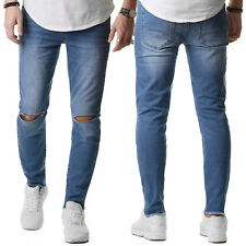 Sixth June M2459 Herren Jeans Hose Denim Biker Slim Fit Zerrissen Blau 28-36