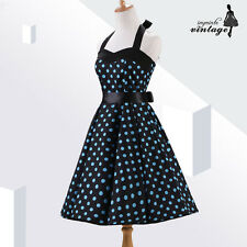 Black Blue Polka Dot Audrey Hepburn 50s 60s Vintage Rockabilly Dress Halter