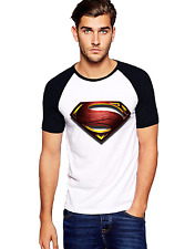 Fanideaz Men's Man of Steel Superman Round Neck Raglon Black T-Shirt (FIMR5277B)