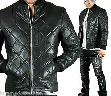 Men's new stylish Fully quilted banded hem leather jacket
