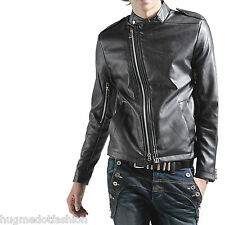 Men's New Stylish Leather Jacket in Black/Brown  Color V-Shaped Crose Zip Closer