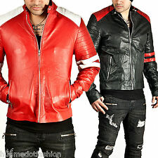 Men' new stylish genuine leather Jacket in Black/red color sport bike bomber