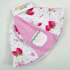Baby Girls Strawberry Pink White Gingham Floral Bucket Sun Hat Age 0-3-6 Months