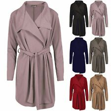 Womens Long Sleeve Cardigan Ladies Waterfall Italian Blazer Belted Duster Coat