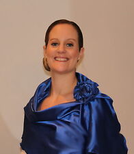 Navy or Teal Silver Soft Shiny Satin Shawl Wrap Stole Flower Clip Wedding Prom