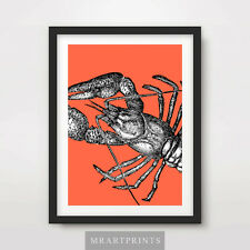 RED LOBSTER ART PRINT POSTER Animals Sealife Pop Bright Decor Illustration
