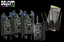 Delkim TXI Plus Set 3 Bite Alarms RX Pro Receiver Free 3 Snag Ears & 3 Batteries