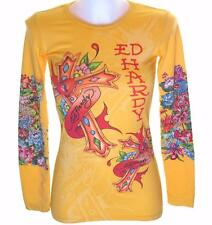 NUOVO Donna Ed Hardy manica lunga Specialty T Shirt Stretch LOVE CROCE XS