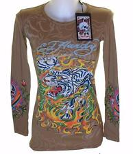 NUOVO Donna Ed Hardy manica lunga Specialty T Shirt Stretch FIAMMANTE TIGRE S XS