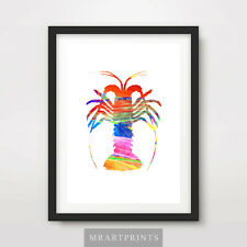 LOBSTER ANIMAL SILHOUETTE Art Print Poster Color Colour Painting Illustration