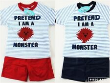 Baby Boys White Striped Summer T-Shirt Top Shorts Monsters Outfit Set Red/Blue