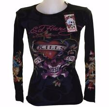 NUOVO Donna Ed Hardy manica lunga Specialty STRETCH T Shirt Love Kills Slowly XS