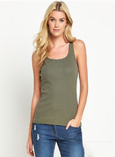Womens New Plain Sleeveless Ladies Stretch Long Strappy Cami Vest Tank Top S-4XL