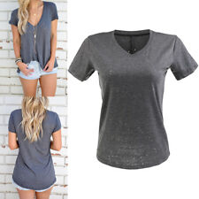 New Women Distressed Ripped Holes Plain Short Sleeve Loose Fit Basic T-Shirt Top