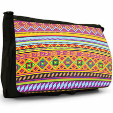 Mexican Aztec Tribal Traditional Patterns Black Large Messenger School Bag