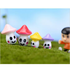 10 Piece Micro Landscape Mini Resin Bonsai Decor Smiling Mushroom 4 Colors