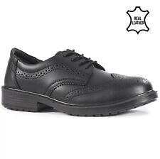 MENS LEATHER EXECUTIVE MANAGER OFFICE WORK STEEL TOE CAP SAFETY SHOES BOOTS 6-13