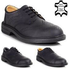 MENS LEATHER EXECUTIVE LIGHTWEIGHT BROGUE WORK STEEL TOE CAP SAFETY SHOES S 6-13