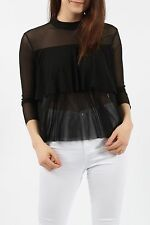 NEW WOMENS HIGH NECK BLACK MESH 3/4 SLEEVE DOUBLE LAYER STRETCHY TOP 8 10 12 14