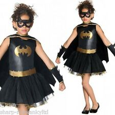 Girls Batgirl Tutu Super Hero Book Day Week Halloween Fancy Dress Costume Outfit