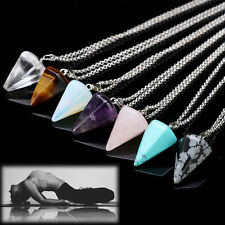 HOT GEMS QUARTZ CRYSTAL PENDULUM HEALING POINT REIKI CHAKRA PENDANT NECKLACE UK
