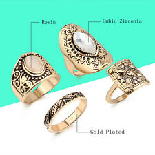 Boho Ancient Gold Silver Plated Carved Totem Beach 4PCS Knuckle Midi Ring Set