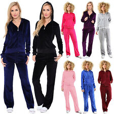 New Ladies Comfortable Velour Hooded Lounge Wear TOP Bottom Jogging Tracksuit UK