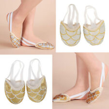Women Soft Dance Shoes Half Sole Ballet Belly Lyrical Shoes Toe Pads Sparkly