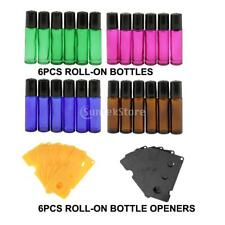 6pcs 10ml Empty Glass Roll On Bottles & Opener for Essential Oil Perfume Makeup