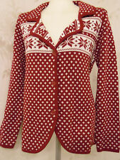 Strick Cardigan,Strickjacke,Norweger-Design wein-rot,weiß Gr.46