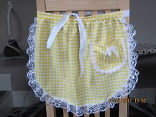 YELLOW / WHITE GINGHAM WITH LACE TRIM AND ARM CUFFS DESIGN HALF APRON / PINNY