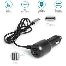 1M 2A Type C Charger Cable + Dual USB Ports 5V 2.4A Car Vehicle Fast Charger
