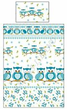 Blue Owls Duvet Cover Pillowcase - Boys and Girls Cot Bed / Toddler Bedding