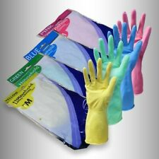 12 Pack Yellow or Blue Gloveman Flock Lined Cleaning Household Latex Gloves