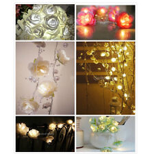 Various Battery Operated Rose Flower String Fairy Light Christmas Wedding Decor