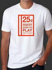 Insert Coin To Play 25¢ 80s Arcade Video Game Retro Vintage Funny White T-Shirt