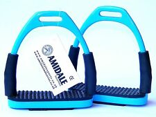 FLEXI SAFETY STIRRUPS HORSE RIDING BENDY IRONS STAINLESS STEEL SKY BLUE AMIDALE