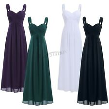 Lace/Long Pleated Formal Wedding Evening Ball Gown Party Prom Bridesmaid Dress