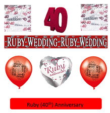 40th Ruby Anniversary Party Tableware and Balloons